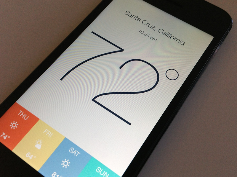 Kelvin Weather App for iPhone - 2.0 iphone app flat weather kelvin minimal
