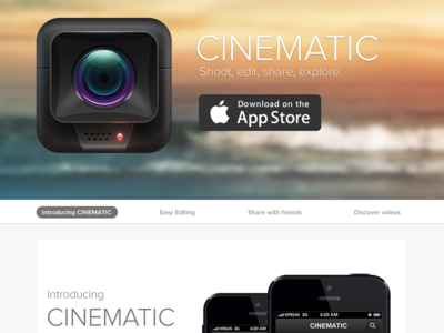 Cinematic iPhone App - Landing Page