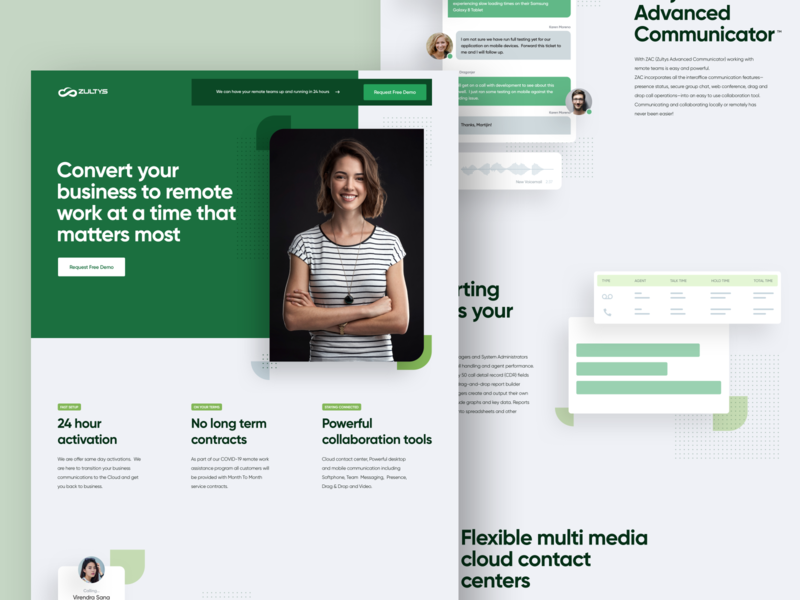 Zultys COVID Work From Home Landing Page ux ui web design website landing page