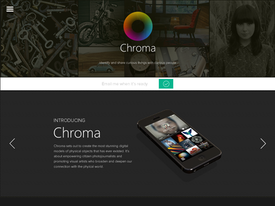 Landing Page for Chroma App website landing page layout web preview