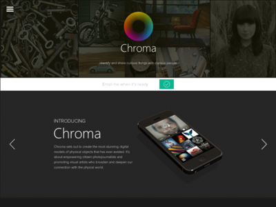 Landing Page for Chroma App