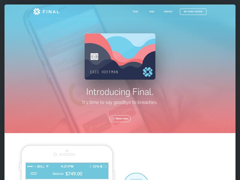 Final Card Landing Page landing product website web app