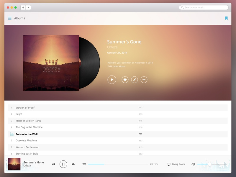 Media Player - Album Detail osx media ui ux apple retina player