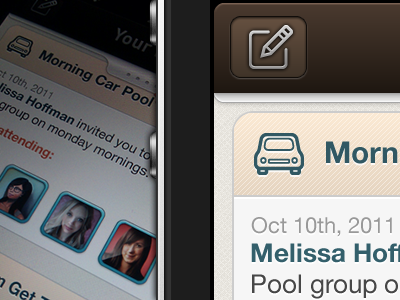 iOS App In The Works ios iphone app application nav texture buttons social facebook tab bar mobile design mobile