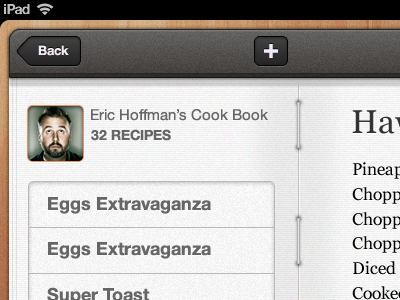 Home Cooked iPad app ipad ios interface texture app apple mobile design mobile