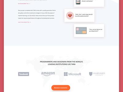 Landing Page For Tara ux ui app marketing website landing web