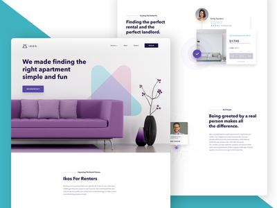 Marketing Site - Renters Page iphone x web site ux ui app dashboard page landing site marketing