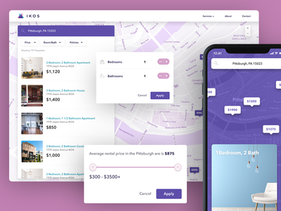Ikos Property Listing Flow  (REAL PROJECT) iphone x product interface maps rental ux ui app ios
