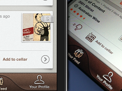 Sipp iPhone App For Wine Lovers - Feed View sipp ios iphone application leather texture feed brown wine