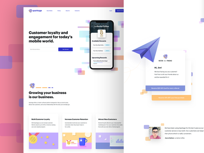 Home Page For Customer Loyalty Service product iphone app illustration ux ui site page landing website