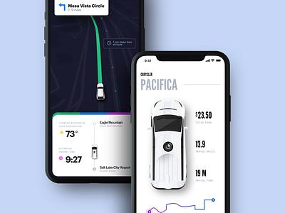 Autonomous Car iOS App product iphone car maps ui  ux design ui app ios
