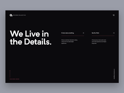 New Reform Collective Site ux animation animation agency website