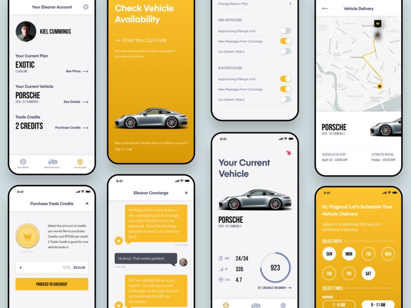 Eleanor iOS App ios apple interface design ui car app mobile app design mobile