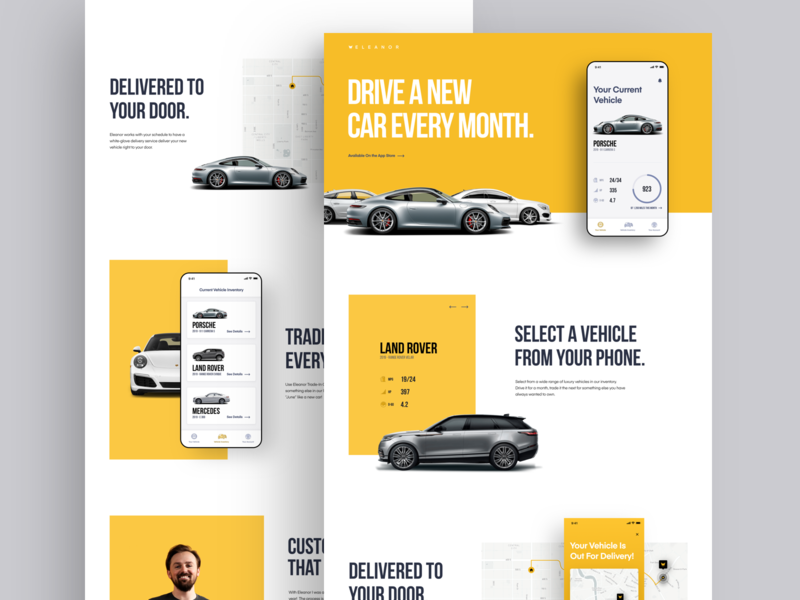 Eleanor Marketing Site car app ui  ux teaser website landing page