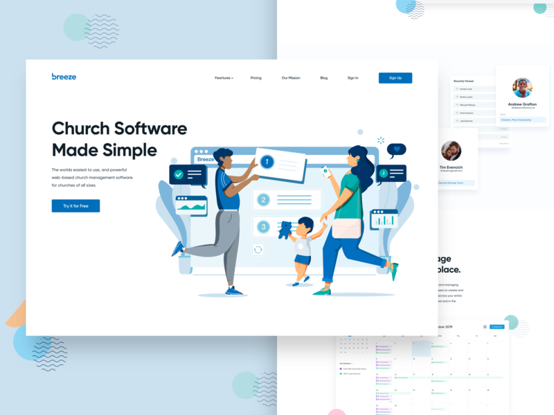 Breeze Church Software Marketing Site website illustration landing page product page product design ui ux