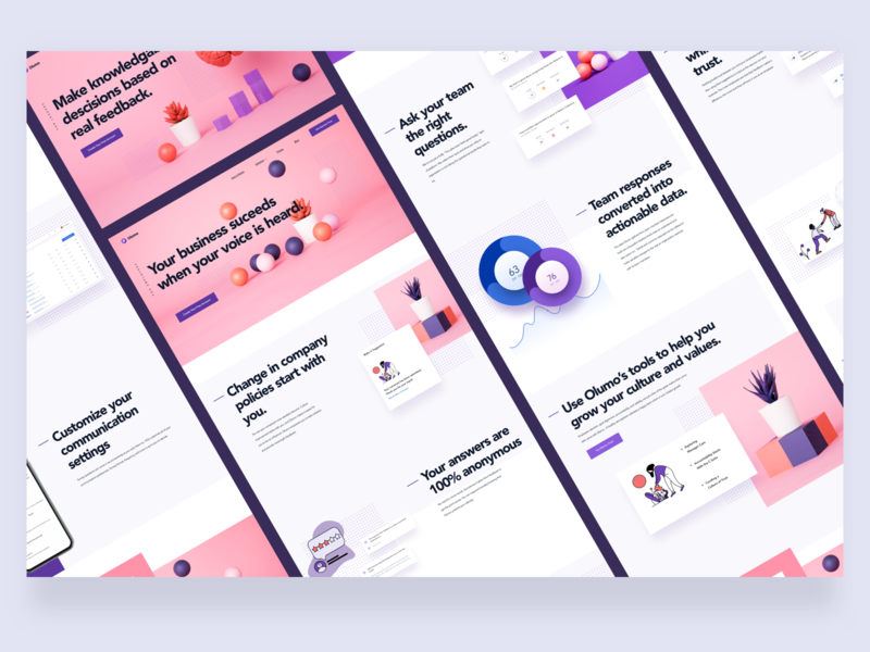 Olumo Now 100% Live and Ready For Use illustrations branding marketing site graphs charts ux ui product page product design