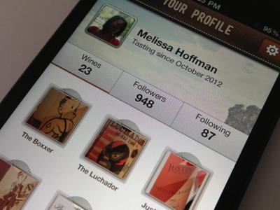 Sipp iPhone App - Profile iphone profile wine texture ui ux mobile app