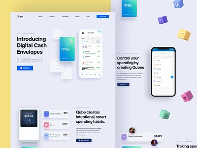 Qube Marekting Site 3d ux app iphone app financial ui landing page website