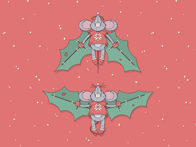Christmas pilot wings christmas mouse character cartoon illustration vector