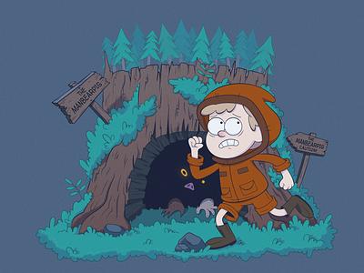 Kenny and ManBearPig boy stump gravity falls forest stylized southpark kennymccormick vector illustration character cartoon