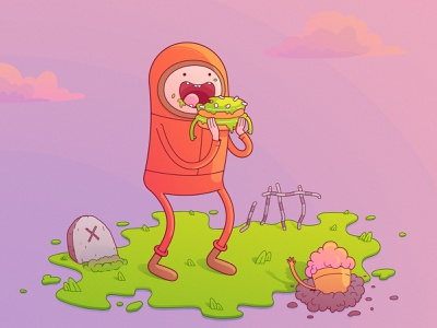 Kenny and sweet zombies adventure time sunset zombie colors design stylized southpark kennymccormick boy vector illustration character cartoon