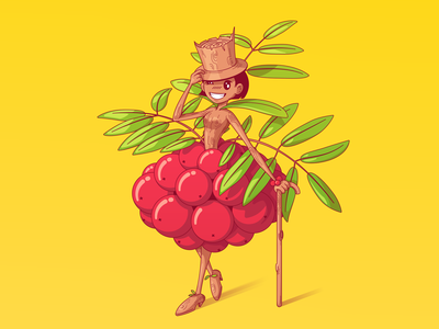 Rowanberry bunch girl yellow autumn humanize rowan berries wood vector illustration character cartoon