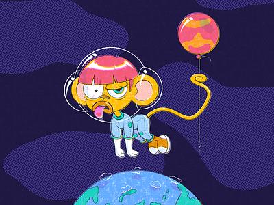 Monkey from Mars overprint halftone balloon cosmonaut astronaut cosmon space cosmos mars earth monkey adobe illustrator cartoon character vector illustration