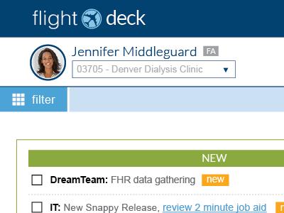 DaVita FlightDeck Task Manager davita user interface ux task manager