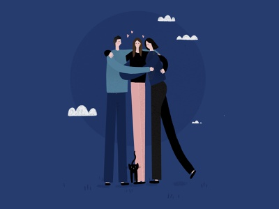 #1: Reuniting with the family home daugther dad mom love cat hug family portrait family reunion family emotions distance blue quarantine procreate illustration digital illustration