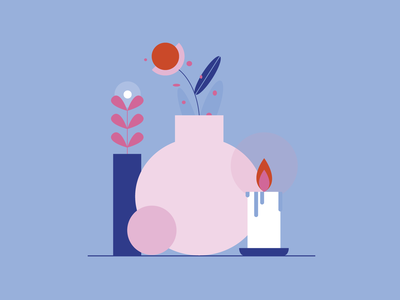 REB — still life flat design ball still life hygge candle leaf plant flower vases composition pink and blue colorful colors palette vector illustration illustrator illustration digital illustration