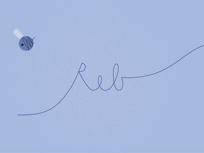 Reb — logo frame blue insect illustrator writing hand lettering bee logo animation logo frame illustration digital illustration