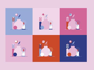 Reb — palette variation scene candle logo hygge flower plant vases animation still life pink and blue palette color combination colorful colors flat design vector illustration illustrator illustration digital illustration