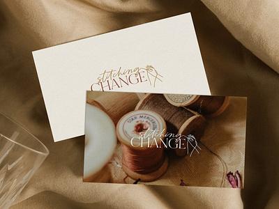 Stitching Change typography minimal logo illustration design branding design branding brand design brand