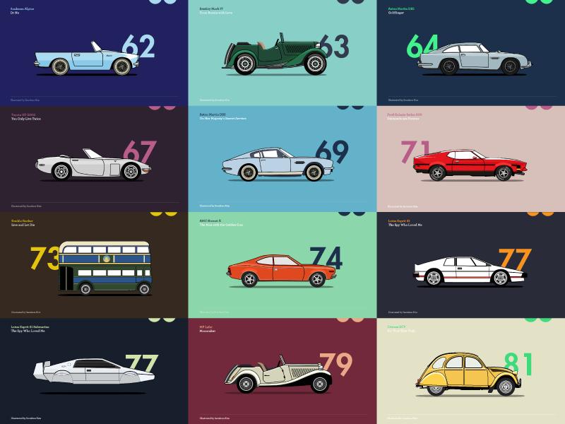 A Brief History of James Bond Car_ Part l illustration project personal history bondcars 007