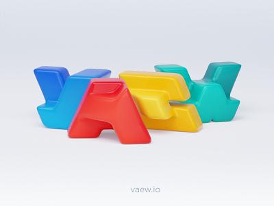 Wave mix shiny wave abstract logo blog design blender 4 color playful colorful 3d letters