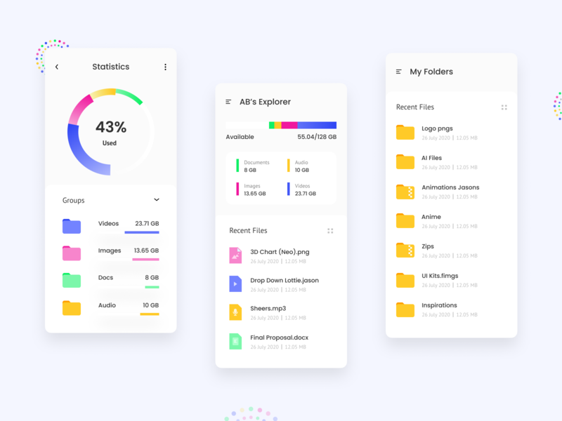 AB's File Explorer files cloud storage analysis storage fileexplorer filemanager colourful design colourfull piecharts vector charts app uidesign ui materialdesign material clean clean design clean ui appdesign