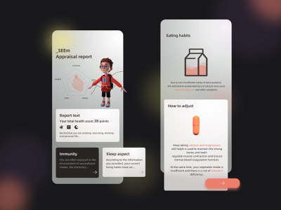 Health guidance web ux shadow illustration colorful design branding app ui art