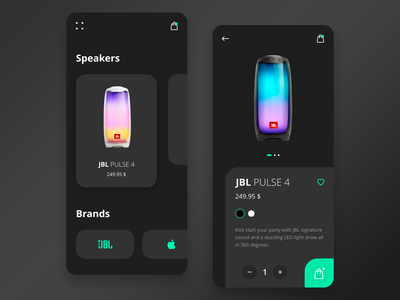 Speaker shop hightech dark mobile ios app adobe xd ux design ux ui design ui minimalist interface