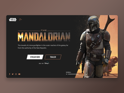 The Mandalorian star wars web mandalorian dark web design adobe xd ux design ux ui design ui minimalist interface