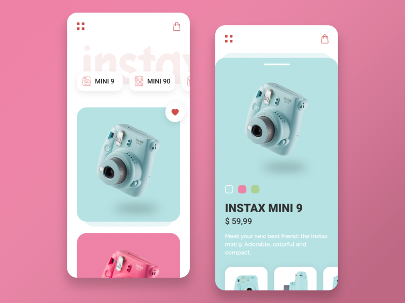 Instax store pink instax ux design ux ui design ui mobile ios app adobe xd minimalist interface