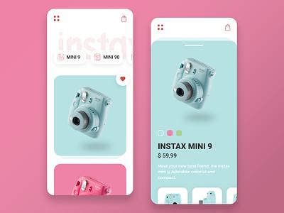 Instax store pink instax ux design ux ui design ui mobile ios app adobe xd minimalist interface