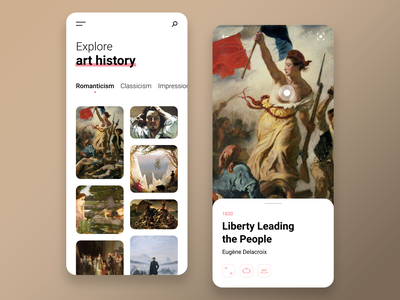 Explore art history art ux design ux ui design ui mobile ios app adobe xd minimalist interface