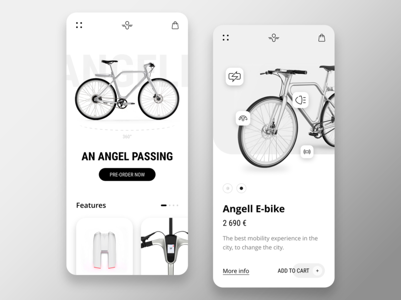 Angell mobile ux design ux ui design ui ios minimalist interface bike e-bike app adobe xd