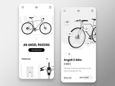 Angell E-bike mobile ux design ux ui design ui ios minimalist interface bike e-bike app adobe xd