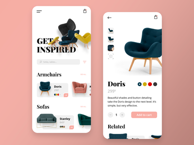 Furniture shop pink furniture mobile ios app adobe xd ux design ux ui design ui minimalist interface