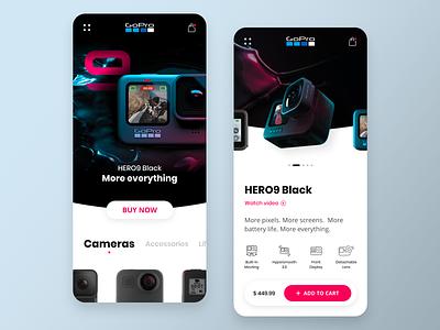 GoPro HERO9 red gopro ux design ux ui design ui mobile ios app adobe xd minimalist interface