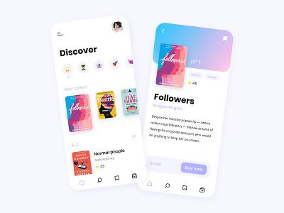 Book store 📚 gradient ebook book mobile ios app adobe xd ux design ux ui design ui minimalist interface
