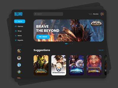 Blizzard 🎮 blizzard video game dark web design web adobe xd ux design ux ui design ui minimalist interface