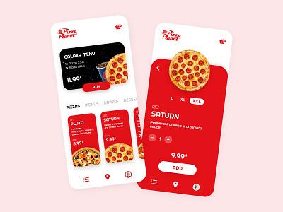Pizza Planet 🚀 toystory pixar disney food pizza red mobile ios app adobe xd ux design ux ui design ui minimalist interface