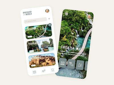Discover the world  🗺 brown green travel mobile ios app adobe xd ux design ux ui design ui minimalist interface